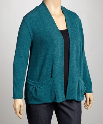 Teal Knit Open Cardigan - Plus