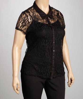Black Lace Short-Sleeve Button-Up Top - Plus