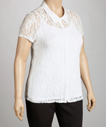 White Lace Short-Sleeve Button-Up Top - Plus