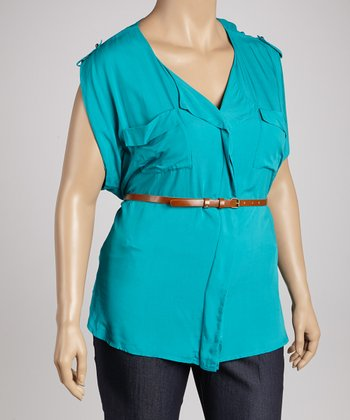 Green Belted Epaulette Top - Plus