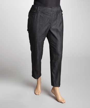Black Denim Ankle Pants - Plus
