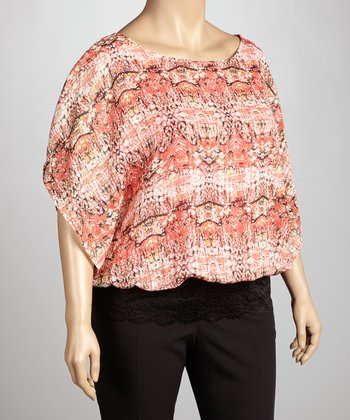 Coral & Black Abstract Cape-Sleeve Top - Plus