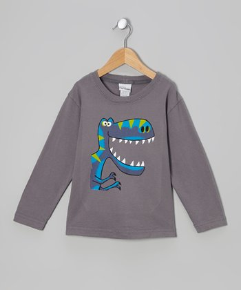 Gray Big Tooth Dino Tee - Infant