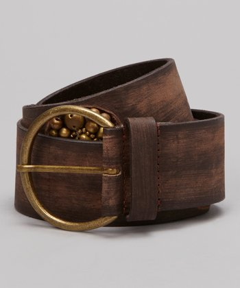Brown Distressed Beaded Belt