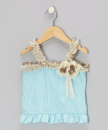Light Blue & Brown Rosette Tank - Toddler & Girls