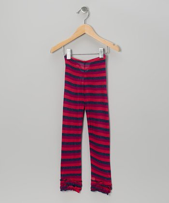 Berry Stripe Ruffle Leggings - Infant, Toddler & Girls