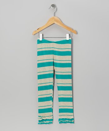 Turquoise Stripe Ruffle Leggings - Infant, Toddler & Girls