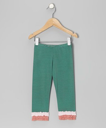 Green Stripe Ruffle Leggings - Toddler & Girls