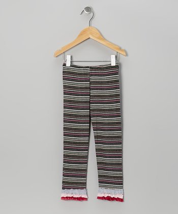 Black Raspberry Stripe Ruffle Leggings - Toddler & Girls