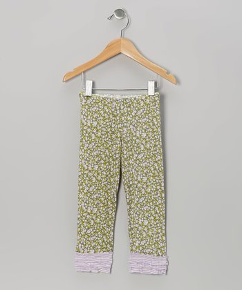 Olive Floral Ruffle Leggings - Infant, Toddler & Girls