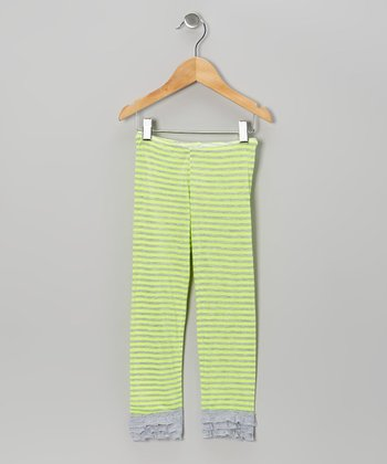 Neon Yellow Stripe Ruffle Leggings - Infant, Toddler & Girls