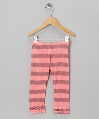 Bubblegum Stripe Ruffle Leggings - Infant, Toddler & Girls