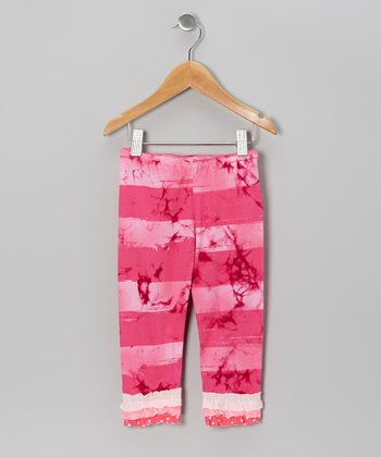 Hot Pink Tie-Dye Stripe Ruffle Leggings - Infant, Toddler & Girls