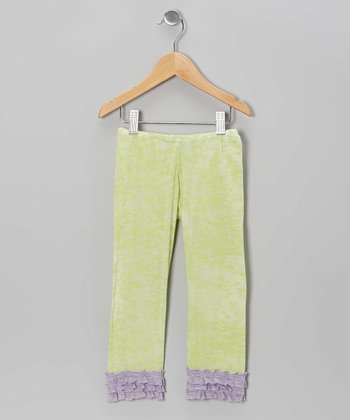 Spring Green Heather Ruffle Leggings - Infant, Toddler & Girls