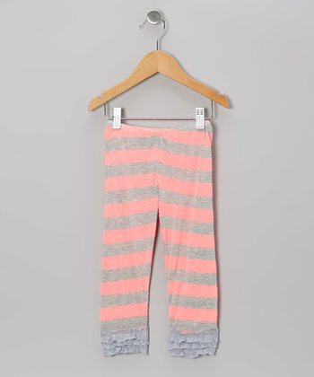 Neon Pink Stripe Ruffle Leggings - Infant, Toddler & Girls
