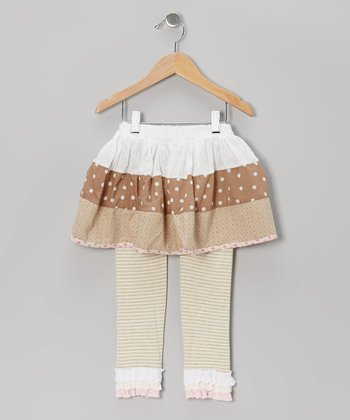White & Tan Ruffle Skirt & Leggings - Infant, Toddler & Girls
