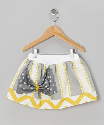 Gray & Yellow Stripe Bow Skirt - Infant, Toddler & Girls
