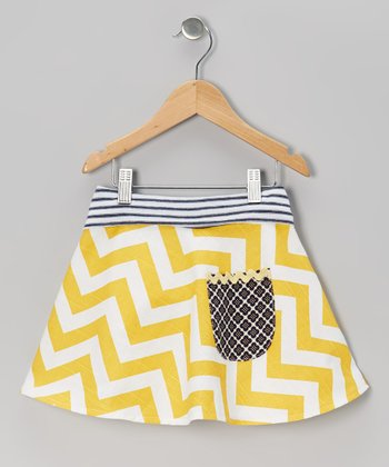 Yellow Zigzag Pocket Skirt - Toddler & Girls