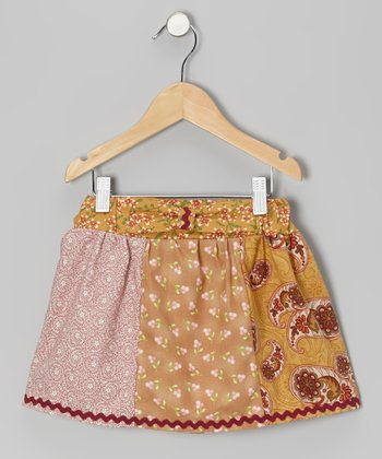 Tan Vintage Patchwork Skirt - Infant, Toddler & Girls