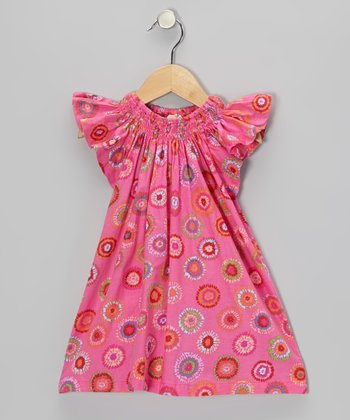 Pink Daisy Paloma Angel-Sleeve Dress - Toddler & Girls