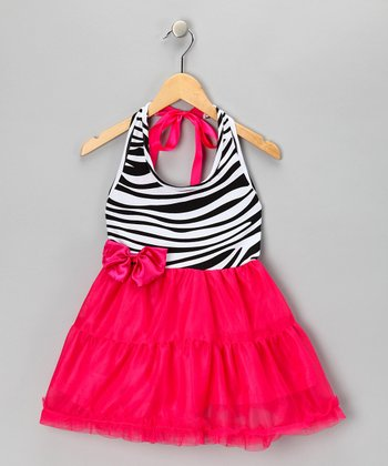 Pink Zebra Halter Top Dress - Toddler & Girls