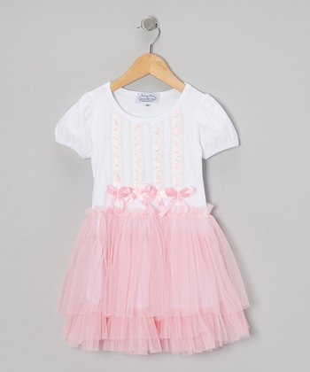 Pink & White Chiffon Ballerina Dress - Toddler & Girls