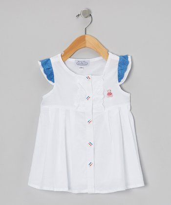 White Angel-Sleeve Shirt Dress - Infant