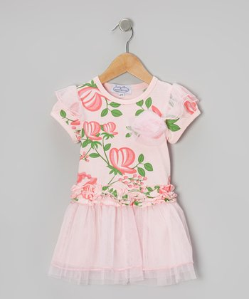 Pink Rose Chiffon Dress - Toddler & Girls
