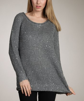 Gray Sparkle Long Sweater