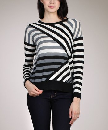 Gray & Black Diagonal Stripe Top