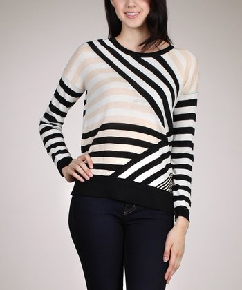 Beige & Black Diagonal Stripe Top