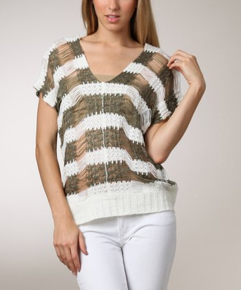 Ivory & Olive Sheer Stripe V-Neck Short-Sleeve Sweater