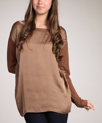 Brown Long-Sleeve Top