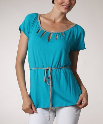 Jade & Taupe Cutout Short-Sleeve Top