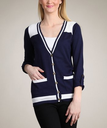 Navy & Cream Color Block Cardigan