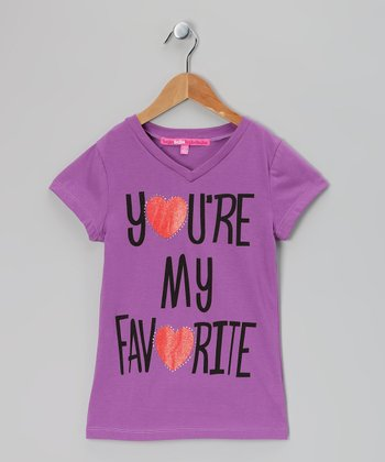 Purple 'You're My Favorite' Rhinestone Heart Tee