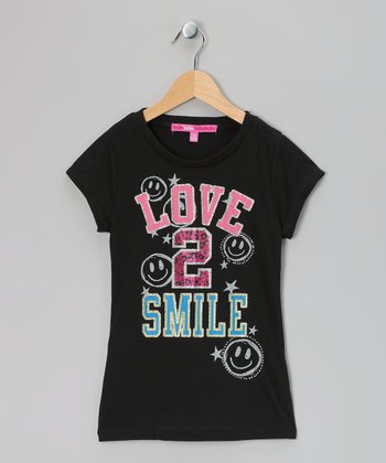 Black 'Love 2 Smile' Glitter Tee