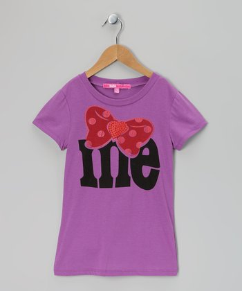 Purple & Pink Glitter Bow 'Me' Tee