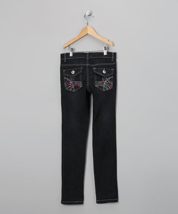 Black & Hot Pink Sequin Flap-Pocket Skinny Jeans - Girls