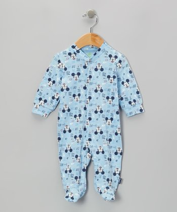 Light Blue Mickey Footie - Infant