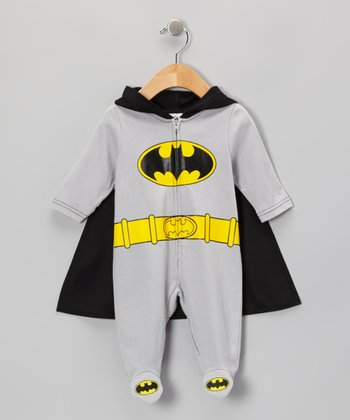 Gray & Black Batman Caped Footie - Infant