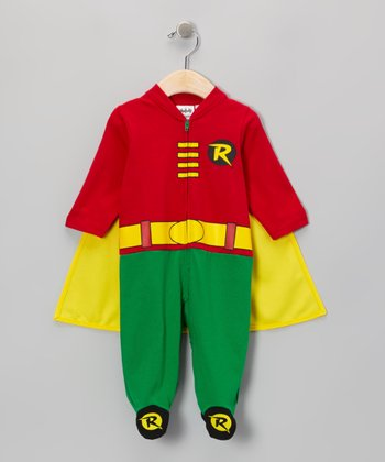 Red & Green Robin Caped Footie - Infant