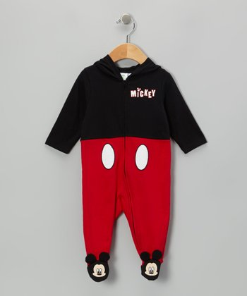 Black & Red Mickey Hooded Footie - Infant