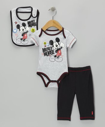 Gray Mickey Bodysuit Set - Infant