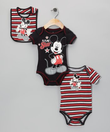 Red Stripe Mickey Bodysuit Set - Infant