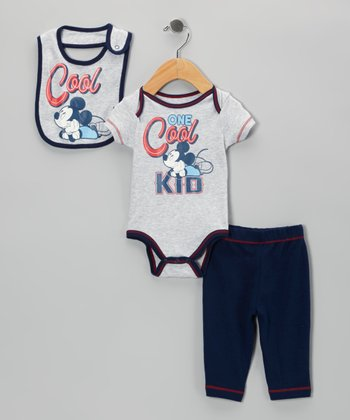 Gray 'Cool' Mickey Bodysuit Set - Infant