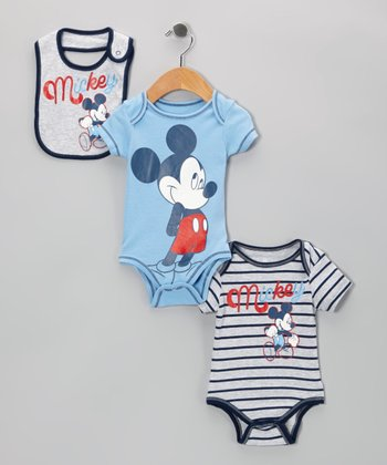 Light Blue Mickey Bodysuit Set - Infant