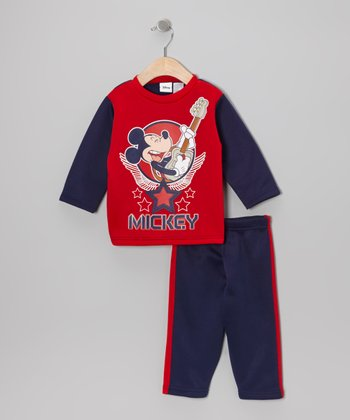 Red & Blue Mickey Top & Pants - Infant & Toddler