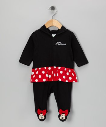 Black Minnie Hooded Footie - Infant