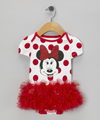 Red Polka Dot Skirted Bodysuit - Infant